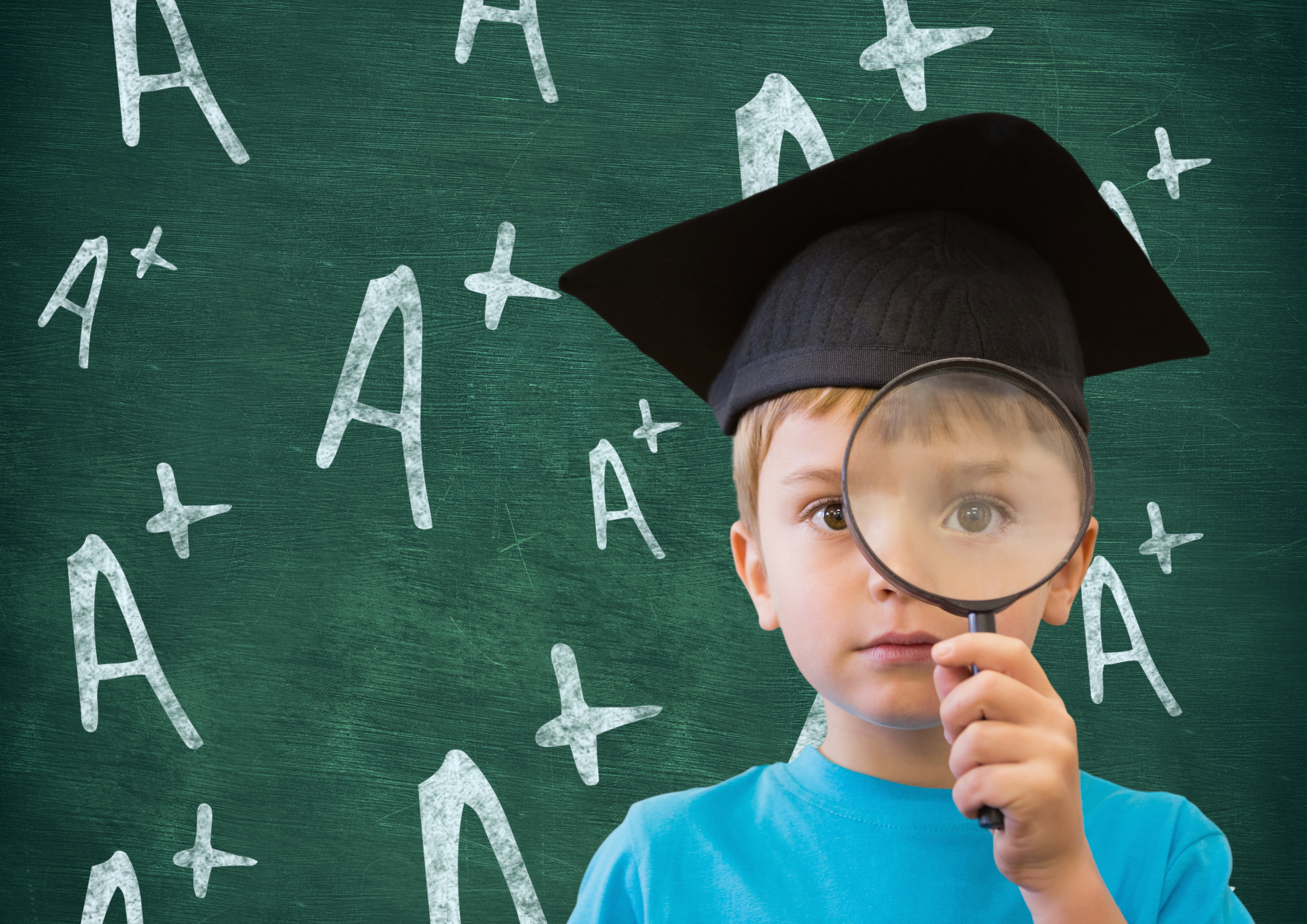 Digital composition of boy in graduation cap holding magnifying glass against A positive sign in background